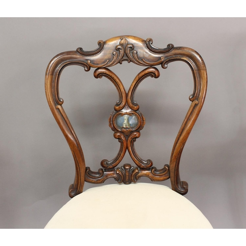 2335 - A SET OF SIX VICTORIAN ROSEWOOD BALLOON BACK DINING CHAIRS, the scrolling Rococo Revival backs with ...
