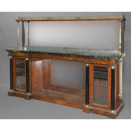 2346 - A 19TH CENTURY FRENCH MARBLE TOPPED SIDEBOARD. The veined black marble top with inverted break front...