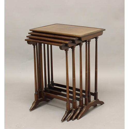 2360 - A NEST OF FOUR OCCASIONAL TABLES IN THE MANNER OF GILLOWS OF LANCASTER, A nest of four occasional ta...