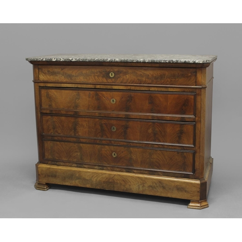 2363 - A FRENCH EMPIRE STYLE MARBLE TOPPED COMMODE, the rectangular marble top above a long frieze drawer a...