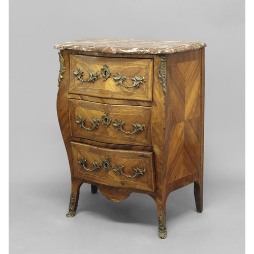 2372 - A LOUIS XV STYLE BOMBÉ MARBLE-TOPPED COMMODE, the pink marble top above three drawers with scrolling...