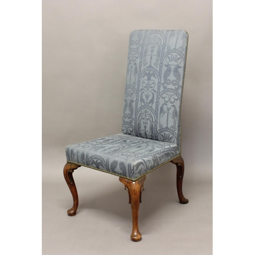 2374 - AN 18TH CENTURY WALNUT SIDE CHAIR, upholstered in blue fabric with brass studded lining on cabriole ...