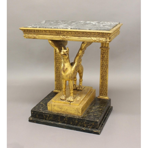 2379 - A MARBLE TOPPED CONSOLE TABLE, the Neo-Classical frieze on a gilt griffin support with twin rear col...