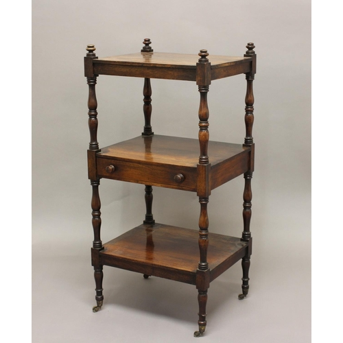 2385 - A 19TH CENTURY ROSEWOOD THREE TIER WHATNOT, on turned supports with single drawer, 100cm high, 47cm ...