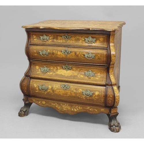 2387 - A DUTCH MARQUETRY BOMBÉ CHEST OF DRAWERS, the shaped rectangular top above four drawers with swag ha...