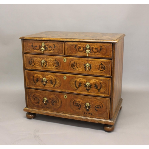 2388 - AN 18TH CENTURY WALNUT MARQUETRY CHEST OF DRAWERS, the rectangular top above two short and three lon...
