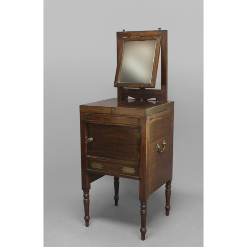 2409 - A 19TH CENTURY MAHOGANY CAMPAIGN WASHSTAND. A mahogany washstand with a rising mirror above two part...