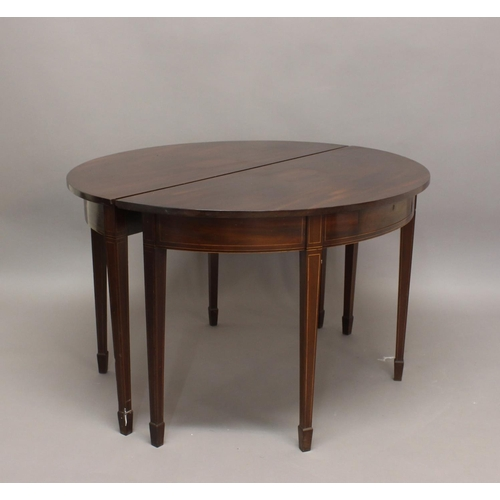 2435 - A PAIR OF GEORGE III MAHOGANY TABLES. A pair of mahogany D shaped console tables or dining table end...