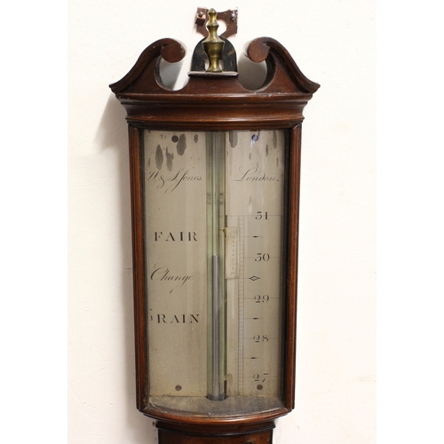 2151 - A REGENCY MAHOGANY STICK BAROMETER BY W & S JONES, LONDON, c. 1800, the silvered dial signed W & S J...
