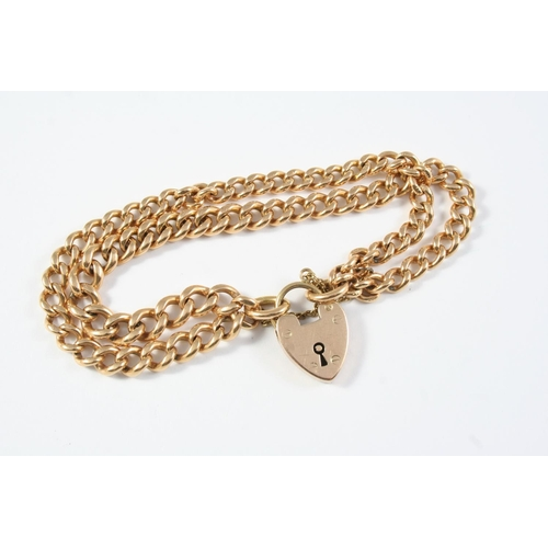 1070 - A 15CT GOLD DOUBLE ROW CURB LINK BRACELET each link stamped 15ct 625, with 9ct gold padlock clasp, 1...
