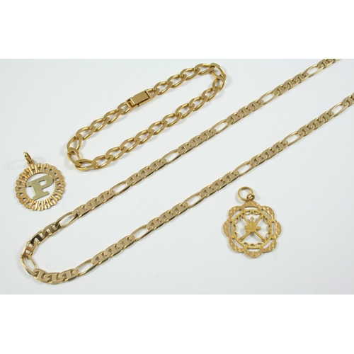 1078 - A 14CT GOLD FANCY LINK NECKLACE 50cm long, 20.6 grams, together with a 21ct gold pendant, 3.6 grams,...