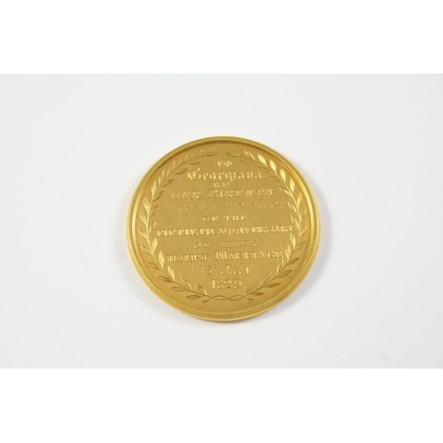 1098 - A GOLD COMMEMORATIVE MEDALLION inscribed to one side William and Ann Hobson married 15 July 1779, to...