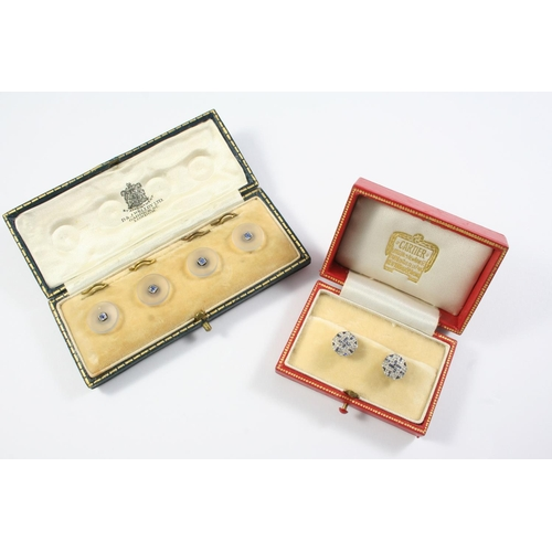 1105 - A PAIR OF SAPPHIRE AND DIAMOND DRESS STUDS each set with calibre-cut sapphires and rose-cut diamonds...