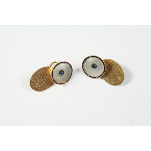 1108 - A PAIR OF MOTHER OF PEARL AND 15CT GOLD CUFFLINKS each formed with a circular mother of pearl link c...