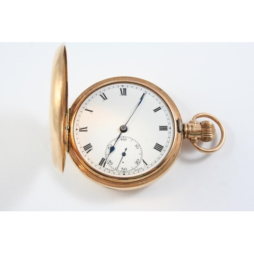 1123 - A 9CT GOLD HALF HUNTING CASED POCKET WATCH the white enamel dial with Roman numerals and subsidiary ...