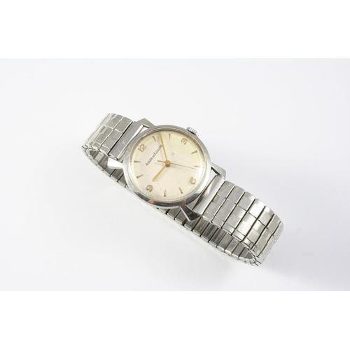 1143 - A GENTLEMAN'S STAINLESS STEEL WRISTWATCH BY JAEGER-LeCOULTRE the signed circular dial with Arabic qu...