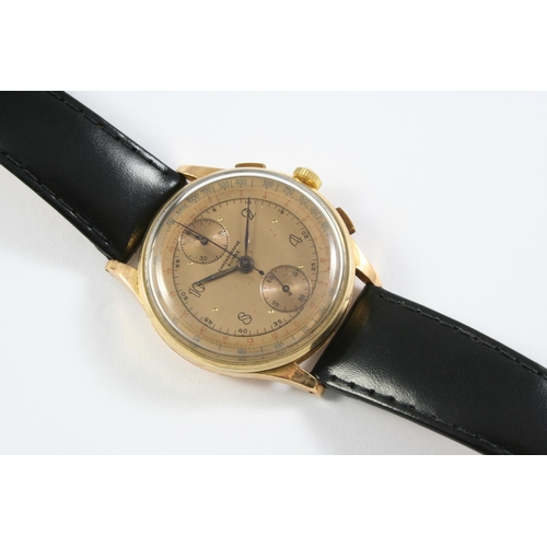 1148 - A GENTLEMAN'S SWISS 18CT GOLD CHRONOGRAPH WRISTWATCH  the gold coloured dial with four Arabic numera...