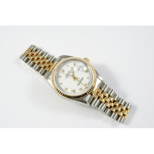 1149 - A GENTLEMAN'S STAINLESS STEEL AND GOLD OYSTER PERPETUAL DATEJUST WRISTWATCH BY ROLEX the signed whit...