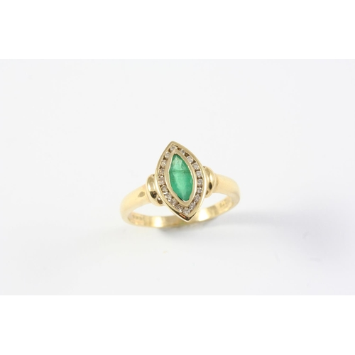 1172 - AN EMERALD AND DIAMOND MARQUISE-SHAPED RING the marquise-shaped emerald is set within a surround of ...