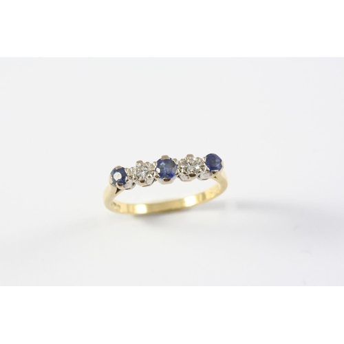 1174 - A SAPPHIRE AND DIAMOND FIVE STONE RING the three circular-cut sapphires are set with two circular-cu...