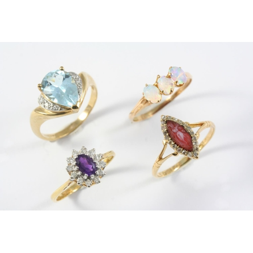1201 - AN AMETHYST AND DIAMOND CLUSTER RING the oval-shaped amethyst is set within a surround of circular-c...