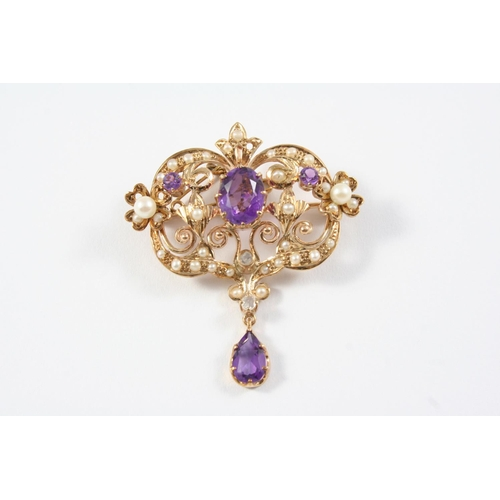 1208 - AN AMETHYST AND PEARL SET BROOCH PENDANT the foliate openwork mount is set with an oval-shaped and t...
