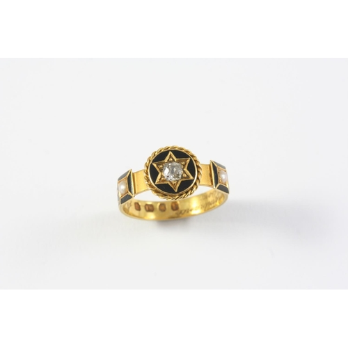 1234 - A GOLD, BLACK ENAMEL, PEARL AND DIAMOND MOURING RING the central cushion-shaped diamond set within a...