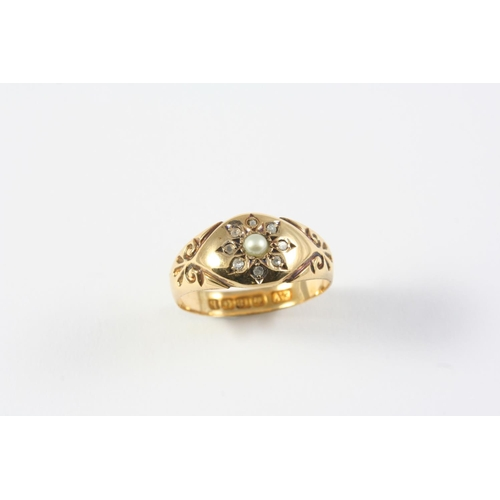 1242 - AN 18CT GOLD, DIAMOND AND PEARL GYPSY RING mounted with a half pearl and rose-cut diamonds, hallmark...