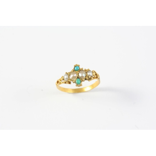 1261 - A GEORGIAN PEARL AND TURQUOISE RING set with four pearls and two turquoise cabochons in gold. Size K...