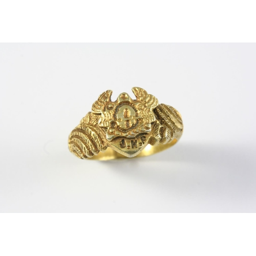 1262 - AN EARLY 19TH CENTURY SILVER GILT RING engraved with a mask and with initials, J.H. P.