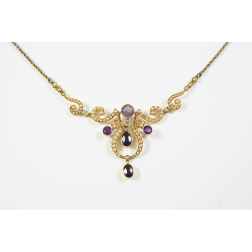 1370 - AN EDWARDIAN AMETHYST AND PEARL SET NECKLACE mounted with  three circular-cut amethysts and two oval...