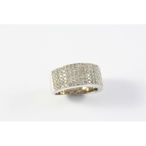 1390 - A DIAMOND HALF HOOP RING mounted with six rows of circular-cut diamonds, in white gold. Size K 1/2...