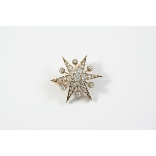 1435 - A VICTORIAN DIAMOND STAR BROOCH PENDANT set overall with graduated old cushion-shaped and rose-cut d...