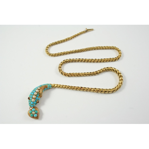 1443 - A VICTORIAN GOLD, TURQUOISE AND PEARL SNAKE NECKLACE the head mounted with turquoise cabochons and h...