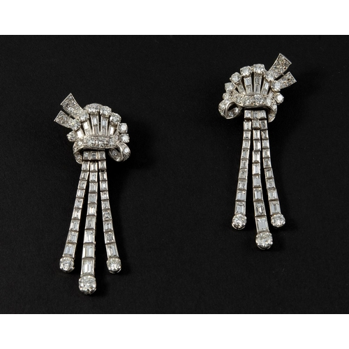1448 - A PAIR OF DIAMOND DROP EARRINGS each set with baguette-cut and brilliant-cut diamonds in platinum, w...
