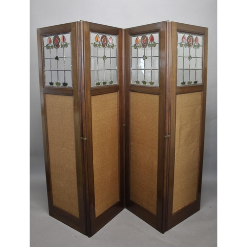 1513 - ART NOUVEAU FOLDING SCREEN - STAIN GLASS a four fold mahogany screen with brass hinges, the top sect...