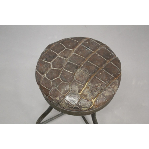 1523 - JAMES SHOOLBRED INDUSTRIAL STOOL an unusual revolving top stool with a circular crocodile skin seat,...