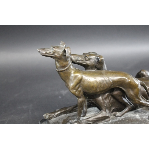 1536 - AFTER ANTONE LOUIS BARYE (1796-1875) - PAIR OF BRONZE GREYHOUNDS a large bronze sculpture of two gre...