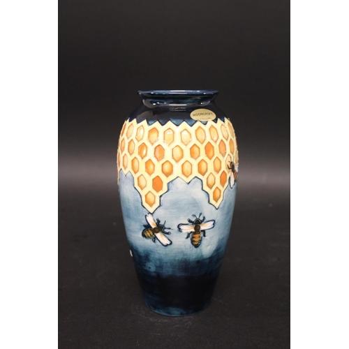 1554 - MOORCROFT VASE - HONEYCOMB a slender vase in the Honeycomb design, issued from 1987-1989 and designe...