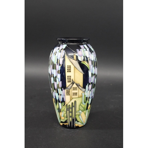 1555 - MOORCROFT VASE - TOWN OF FLOWERS a slender limited edition vase in the Town of Flowers design, No 19...