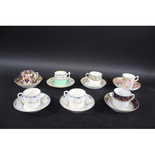 1672 - ANTIQUE COFFEE CANS & SAUCERS a mixed lot including a Flight Barr Barr coffee can and saucer, with a...
