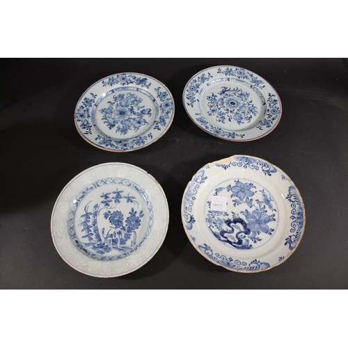 1674 - ANTIQUE DELFT PLATES mostly 18thc, including three painted in various colours, including one with an...