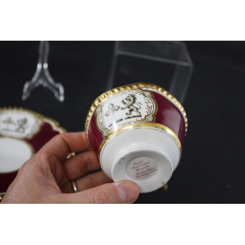 1686 - FLIGHT BARR & BARR WORCESTER CUP & SAUCER - FAMILY CRESTS possibly made for a marriage with two fami...