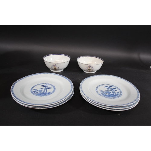 1732 - SET OF SIX CHINESE BLUE & WHITE PLATES probably 18thc, with a central panel painted with trees and f...