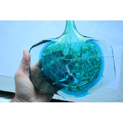 1544 - MDINA AXE HEAD VASE the glass vase with elongated neck, with a coloured glass core with a green case...