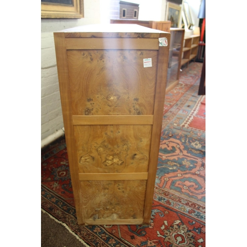 1517 - DAVID LINLEY BOOKCASE/DISPLAY CABINET a large two door burr elm wooden bookcase with adjustable wood...