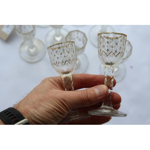 1620 - SET OF CONTINENTAL LIQUEUR GLASSES probably late 18thc/early 19thc, a set of eleven glasses with oct...