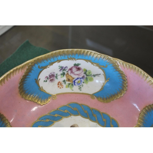 1657 - SEVRES PORCELAIN BOWL possibly late 18thc or early 19thc, the bowl painted with scalloped shaped pan...