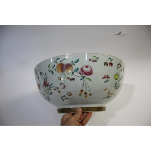 1722 - LARGE CHINESE PUNCH BOWL a large 18thc punch bowl, painted to the interior with a spray of flowers a...