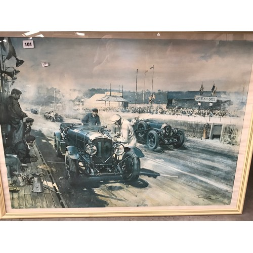 101 - A FRAMED PRINT BY TERRANCE CUNEO -  AUGUST 68 -OF A BENTLEY  T/W  A MICHEAL TURNER PRINT OF JAGUAR D...